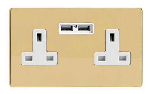 Varilight XDV5U2WS Screwless Polished Brass 2 Gang Double 13A Unswitched Plug Socket 2.1A USB